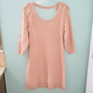 LC Lauren Conrad Tan Acrylic Knit Sweater Dress
